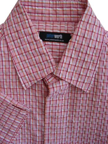 PETER WERTH Shirt Mens 15 S Pink – TEXTURED Multi-Coloured Check SHORT SLEEVE