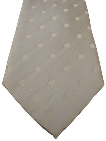 TM LEWIN Mens Tie White – White Polka Dots NEW