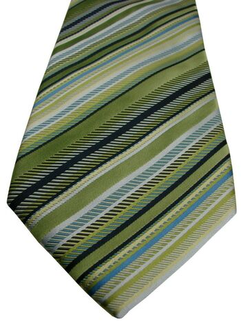 PROFUOMO MODA Tie Green & Blue Stripes