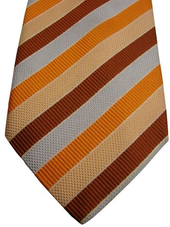 AUSTIN REED Tie Blue Brown Cream & Orange Stripes