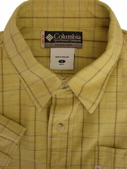 COLUMBIA Shirt Mens 16 S Light Yellow - Check SHORT SLEEVE
