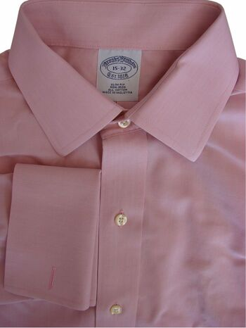 BROOKS BROTHERS Shirt Mens 15 S Pink SLIM FIT NON IRON