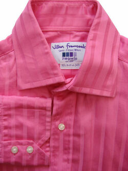 JOHN FRANCOMB TM LEWIN Shirt Mens 15.5 M Bright Pink - Stripes SEMI FITTED MILAN