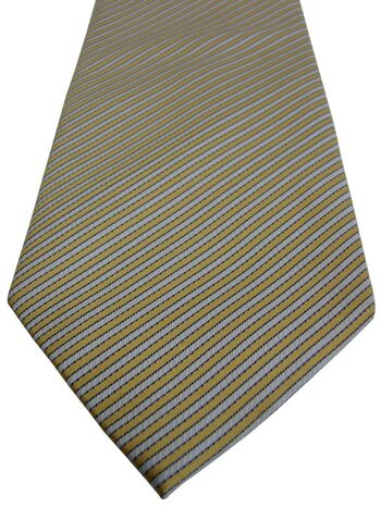 HAWES & CURTIS Mens Tie White & Yellow Stripes