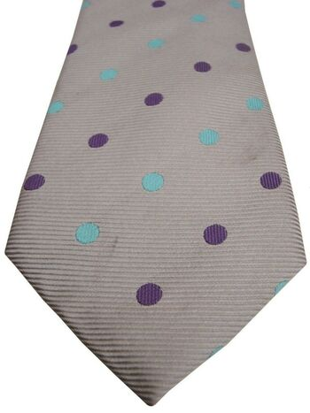 TM LEWIN Mens Tie Grey – Blue & Purple Polka Dots