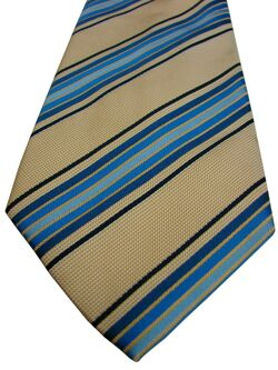 CHARLES TYRWHITT Tie Cream - Orange Mini Squares & Blue Stripes