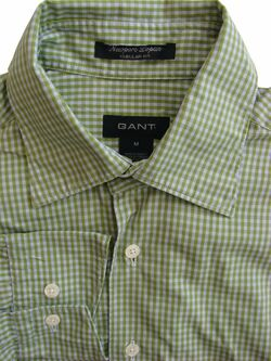 GANT Mens Shirt 15.5 M Green & White Check NEWPORT POPLIN REGULAR FIT