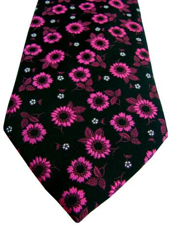 MARKS & SPENCER M&S AUTOGRAPH Mens Tie Black - Fuchsia Flowers