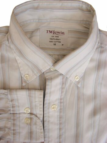 TM LEWIN Shirt Mens 15.5 M White – Multi-Coloured Stripes