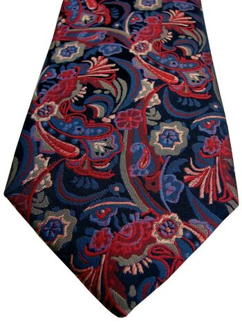 LORENZO CANA Mens Tie Red & Blue Flowers
