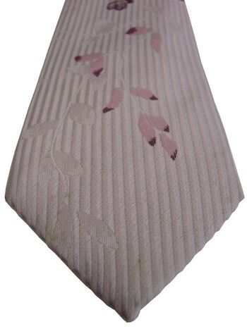 JOHN FRANCOMB TM LEWIN Tie Whitish Grey - Flowers SKINNY