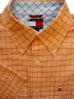 TOMMY HILFIGER Shirt Mens 16 M Orange - Check SHORT SLEEVE