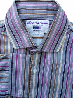 JOHN FRANCOMB TM LEWIN Shirt Mens 15 S Multicolored Stripes LIVORNO FITTED