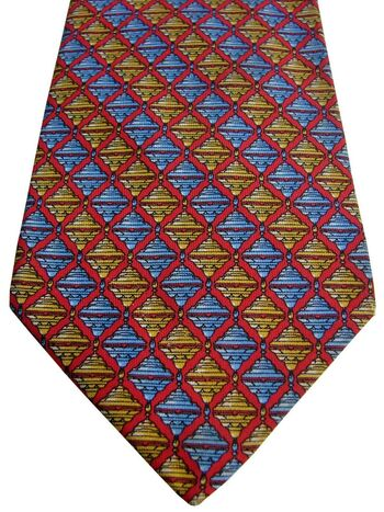 TM LEWIN Mens Tie Blue & Yellow Squares – Red Check