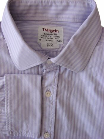 TM LEWIN LUXURY Shirt Mens 17 L Lilac - Stripes SLIM FIT