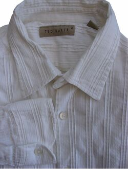 TED BAKER Shirt Mens 14.5 S White – TEXTURED Stripes STRETCHY
