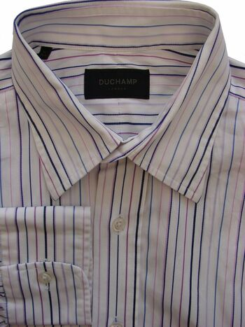 DUCHAMP LONDON Shirt Mens 15.5 M White – Multi-Coloured TEXTURED Stripes