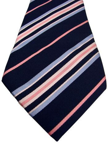 SAMUEL WINDSOR - SEVENFOLD Mens Tie Dark Blue – Pink White & Blue Stripes
