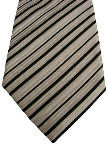 GUTHRIE & VALENTINE Mens Tie Black White Stripes NEW