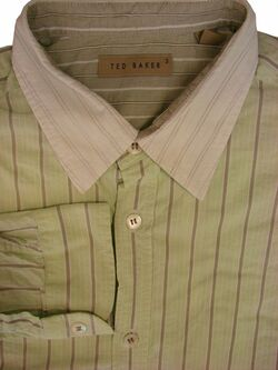 TED BAKER Shirt Mens 15.5 M Green Stripes