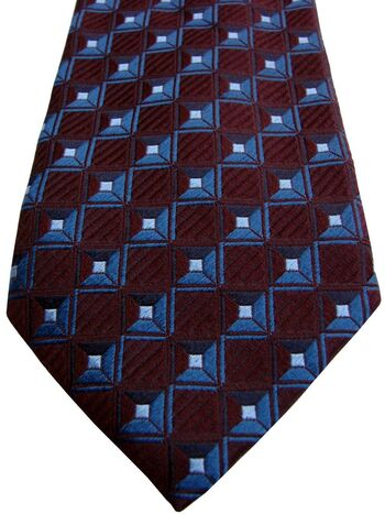 CANALI Mens Tie Burgundy - Squares