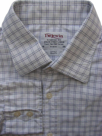 TM LEWIN LUXURY Shirt Mens 16 M White Blue Check SLIM FIT