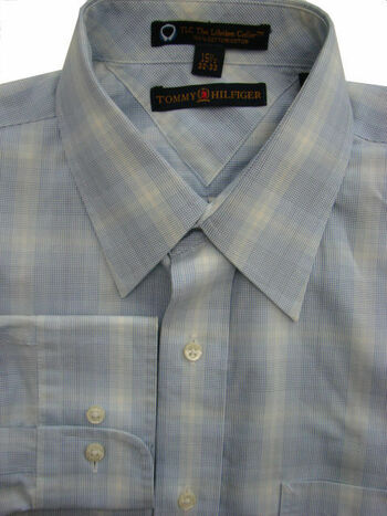 TOMMY HILFIGER TLF – THE LIFETIME Shirt Mens 15.5 M Blue & White Check