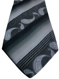PROFUOMO MODA Mens Tie Grey to Black Stripes & Tear Drops