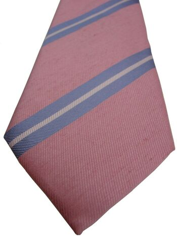 CHARLES TYRWHITT Mens Tie Pink – Blue & White Stripes SKINNY NEW