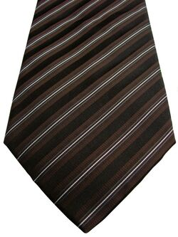 DOLCE & GABBANA D&G Mens Tie Brown Black & White Stripes NEW