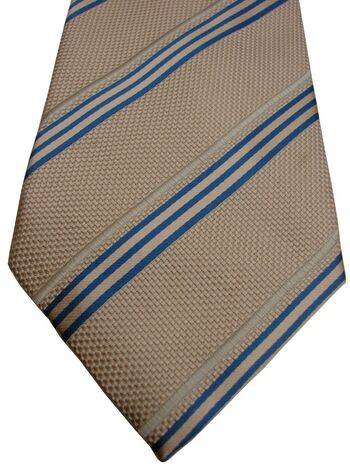 AUSTIN REED Mens Tie Beige - Blue & White Stripes