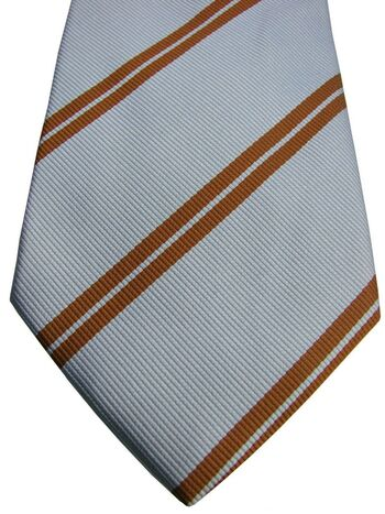 CORNELIANI Tie Light Blue – Double Brown Stripes NEW BNWT
