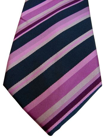 TM LEWIN Mens Tie Dark Blue & Pink Stripes