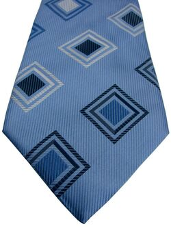RACING GREEN Mens Tie Blue – Blue & White Concentric Squares NEW