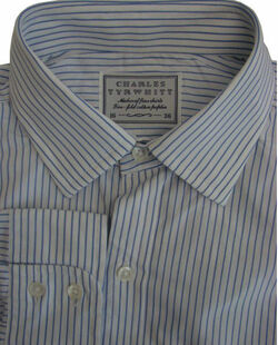 CHARLES TYRWHITT Shirt Mens 16 M Blue & White Stripes