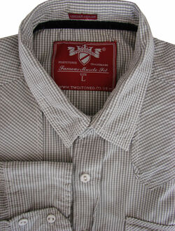 TWO STONED Shirt Mens 16 L Grey & White Check MUSCLE FIT