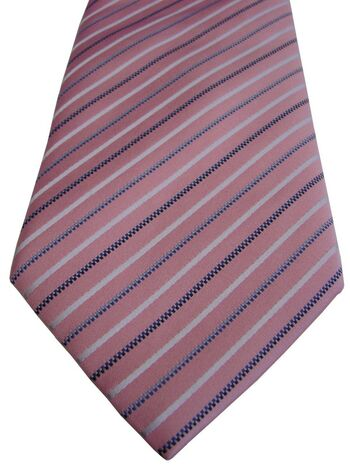 HAWES & CURTIS Mens Tie Pink – Black White & Blue Stripes