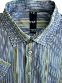 POGGIANTI Shirt Mens 17 XL Multi-Coloured Stripes SHORT SLEEVE