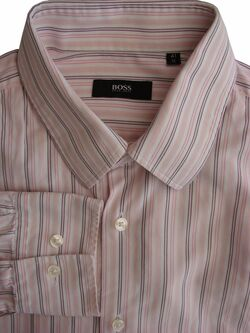 HUGO BOSS Shirt Mens 16 M White – Pink Stripes