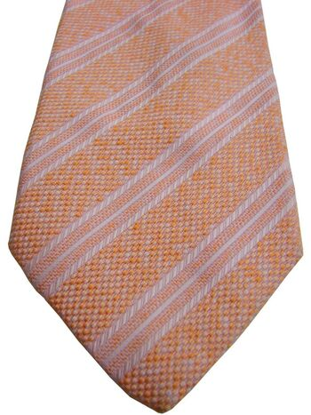 BRIONI Mens Tie Orange - Pink Stripes