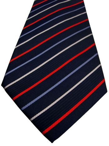 SAMUEL WINDSOR - SEVENFOLD Tie Dark Blue – Red White & Blue Stripes