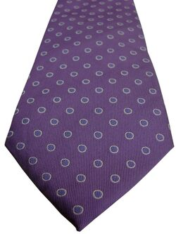 TM LEWIN Mens Tie Purple Bluish Polka Dots