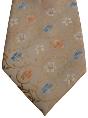 TIGER DK Mens Tie Cream – Multi-Coloured Flowers SLIGHT SHEEN