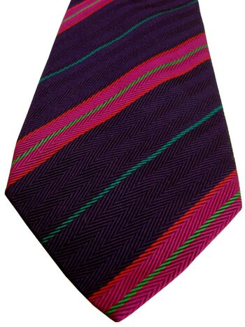 CHARLES TYRWHITT Mens Tie Dark Purple – Pink & Green HERRINGBONE Stripes