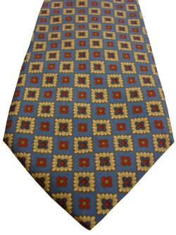 FACONNABLE Mens Tie Yellow Squares – Red & Blue Flowers