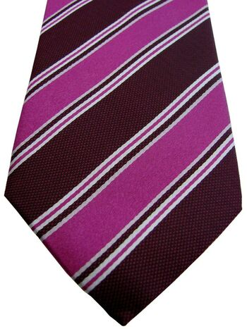 HAINES & BONNER Tie Purple Burgundy & White Stripes SKINNY