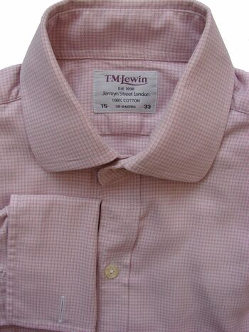 TM LEWIN Shirt Mens 15 S Pink & White Design