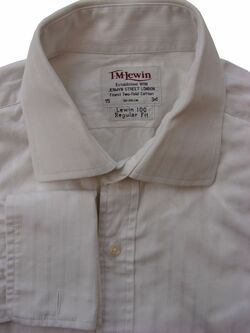 TM LEWIN 100 Shirt Mens 15 S White - Stripes REGULAR FIT