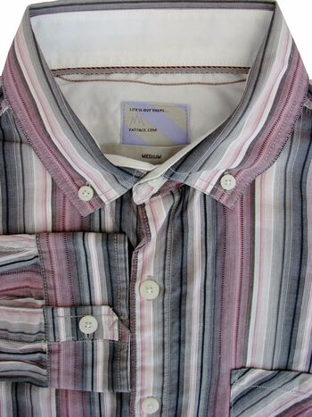 FAT FACE Shirt Mens 16 M White Pink & Grey Stripes