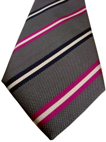 CHARLES TYRWHITT Mens Tie Grey – Pink White & Black Stripes NEW
